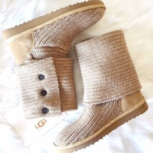 UGG Oatmeal Colored Cardy Knit Boots